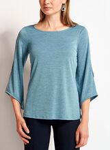 Angel Sleeve Cross Knit Top, Blue, hi-res