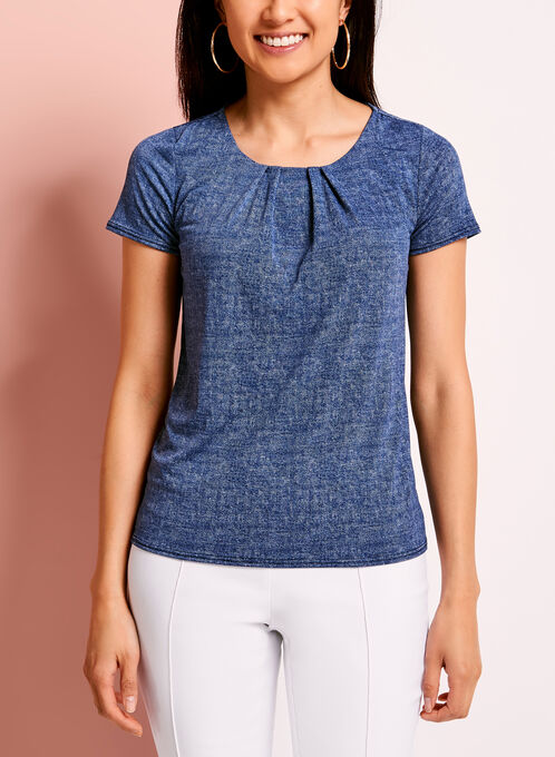 Scoop Neck Denim Effect Top, Blue, hi-res