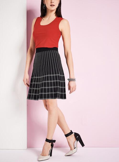 Jacquard Knit Knee-Length Skirt, Black, hi-res