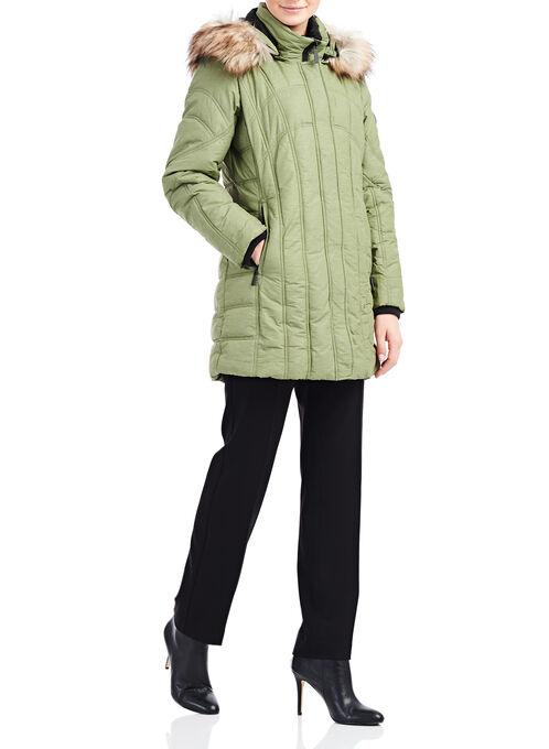 Chillax Faux Fur Polyfill Coat , Green, hi-res