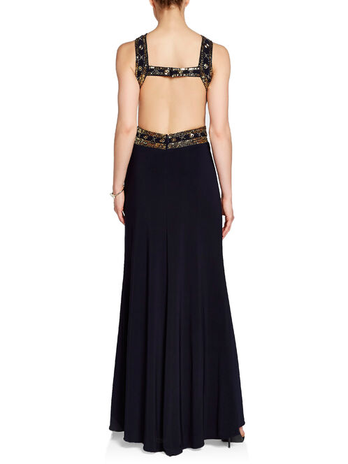 Sequined & Pleated X-Waist Open Back Gown, Blue, hi-res