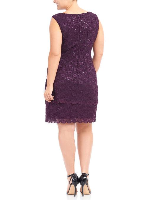 Daisy Lace Sequin Dress, Purple, hi-res