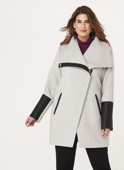 Marcona - Faux Leather Trim Wool Blend Coat, Grey, hi-res