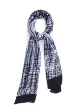 Abstract Plaid Oblong Scarf, Black, hi-res