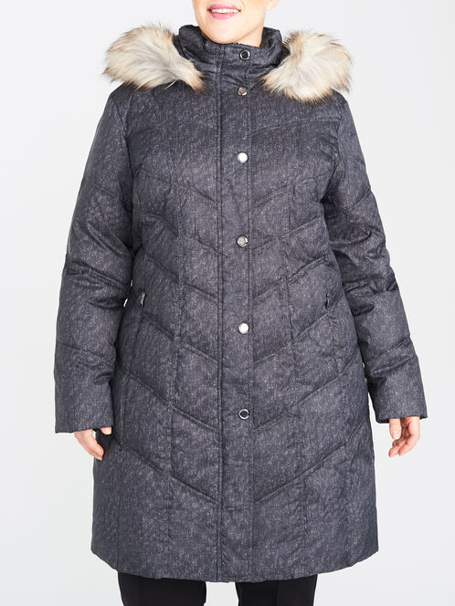 Graphite Print Quilted Down-Filled Coat, Grey, hi-res