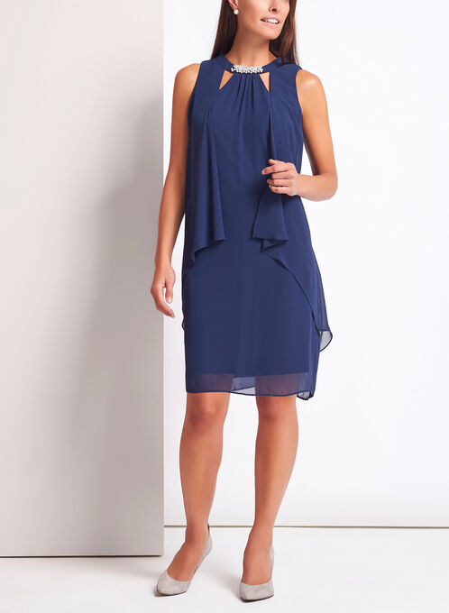 Pearl Cluster Chiffon Cutout Dress, Blue, hi-res