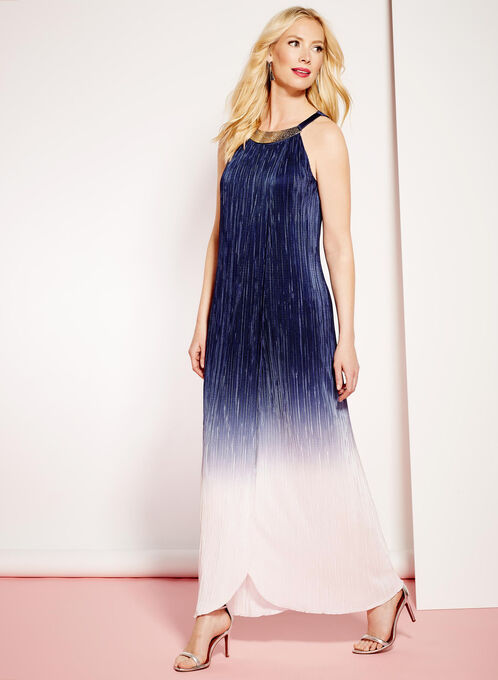 Embellished Ombré Plissé Maxi Dress , Blue, hi-res