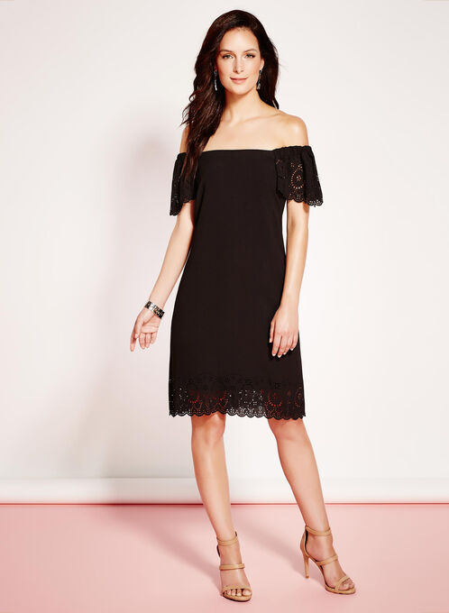 Laser Cut Crepe Shift Dress, Black, hi-res