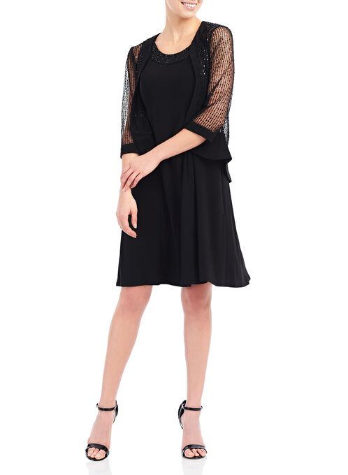 Jersey & Sequined Mesh Dress with Jacket , Black, hi-res