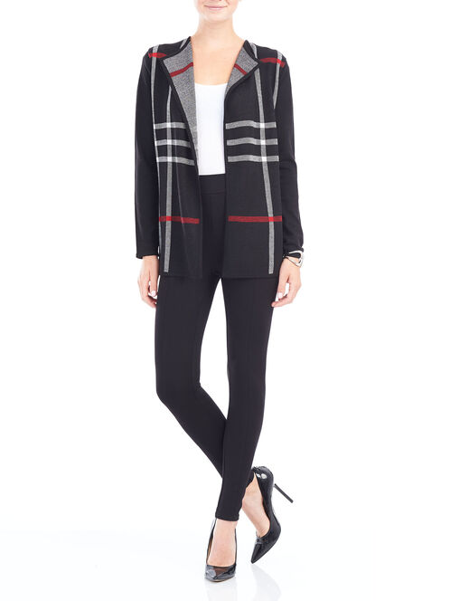 Plaid Print Knit Cardigan, Black, hi-res