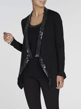 Sequin Trim Draped Front Cardiagn , Black, hi-res