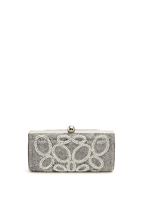 Crystal & Pearl Embellished Clutch, Off White, hi-res