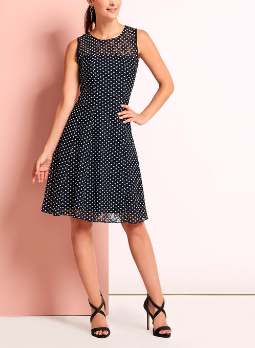 Dot Print Lace Fit & Flare Dress, Blue, hi-res