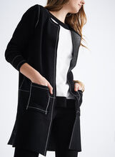 Stitch Detail Knit Tunic Cardigan, Black, hi-res