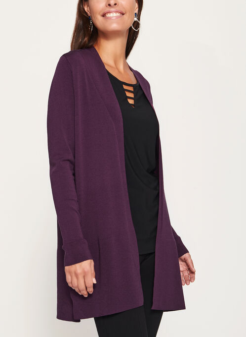 Open Front Side Slit Cardigan , Purple, hi-res