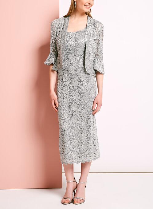 Glitter Lace Dress with Ruffle Trim Bolero, Silver, hi-res