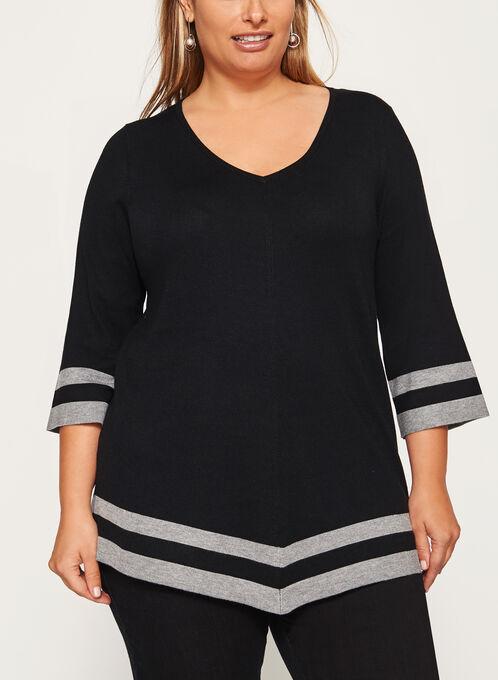 Contrast Asymmetric Knit Sweater, Black, hi-res