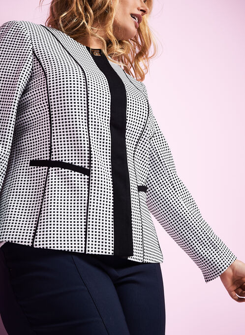 Knit Dot Print Jacket , White, hi-res