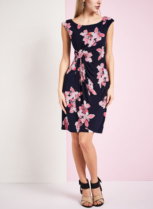 Jersey Floral Print Dress, Blue, hi-res
