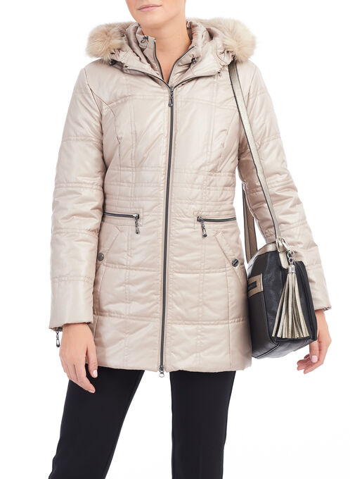 Marcona Polyfill Coat, Off White, hi-res