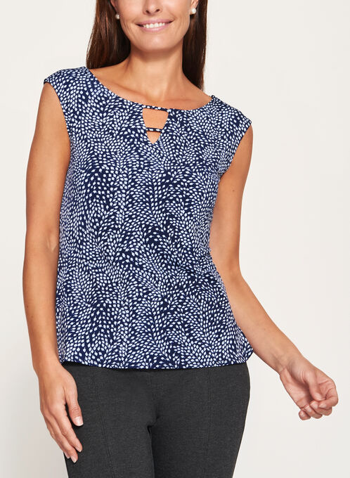 Leaf Print Sleeveless Keyhole Top, Blue, hi-res