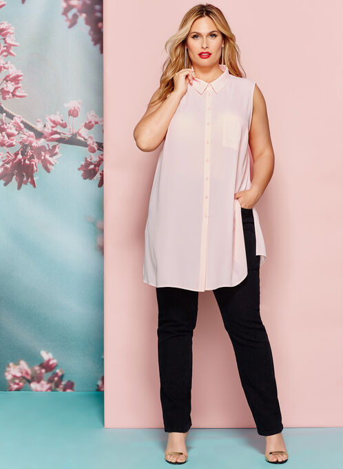 Button Down Sleeveless Tunic , Pink, hi-res