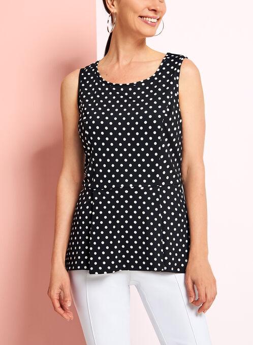 Sleeveless Peplum Dot Print Top, Black, hi-res