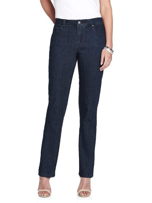 Simon Chang Swirl Stitch Straight Leg Jeans, Blue, hi-res