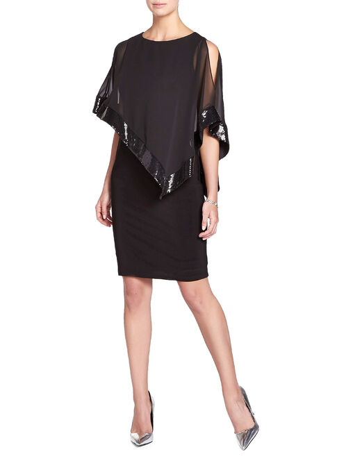 Sequined Chiffon Poncho Overlay Gown, Black, hi-res