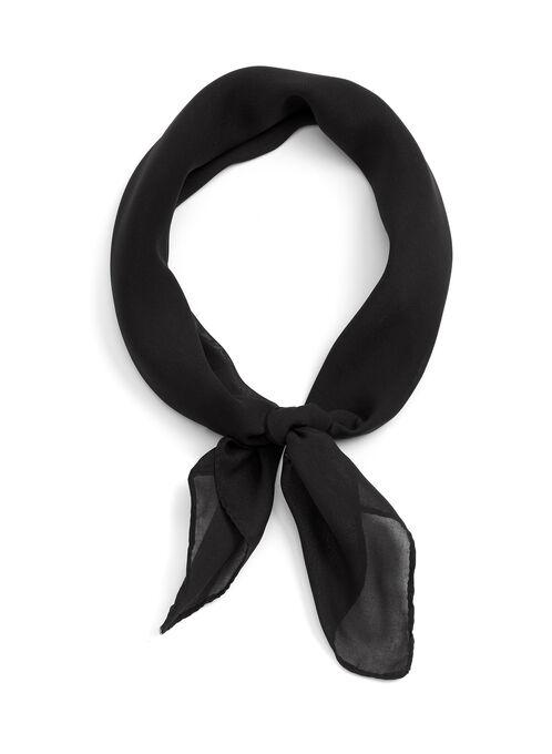 Solid Chiffon Neckerchief, Black, hi-res