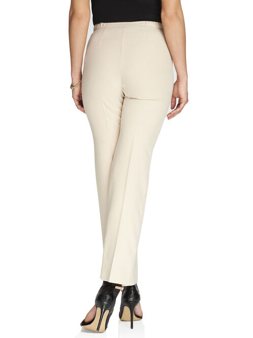 Signature Fit Elastic Waist Straight Leg Pants, Off White, hi-res