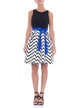 Sleeveless Printed Fit & Flare Dress, Black, hi-res