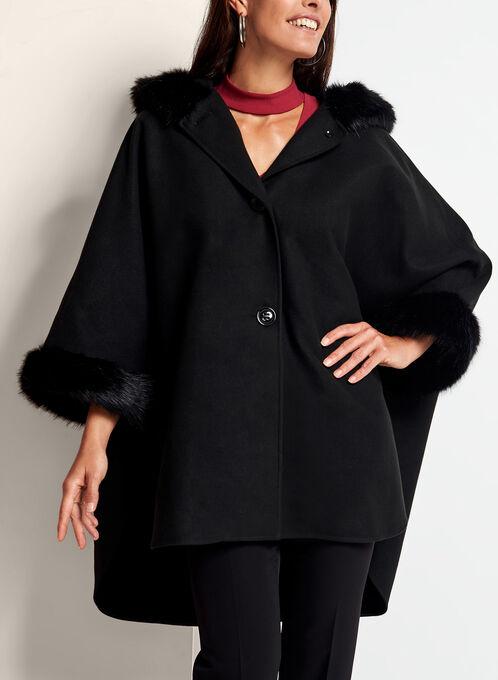 Hooded Cape Coat, Black, hi-res