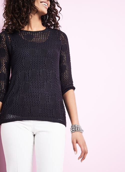 Pointelle Sweater with Matching Tank, Blue, hi-res