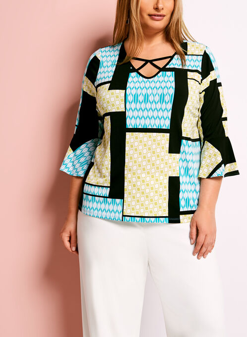 Geometric Print Bell Sleeve Blouse, Blue, hi-res