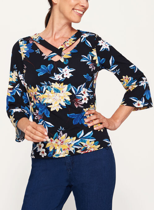 Jersey Floral Print 3/4 Bell Sleeve Top, Black, hi-res
