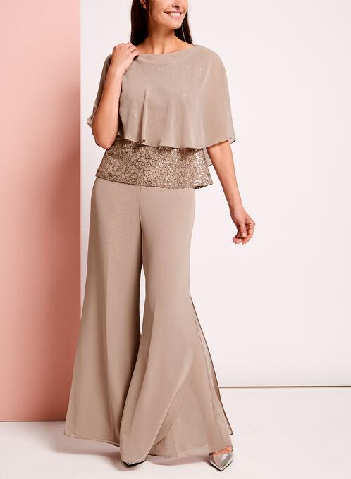 3-Piece Sequined Lace Pantsuit, Brown, hi-res