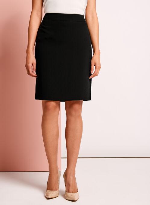 Back Slit Straight Skirt, Black, hi-res