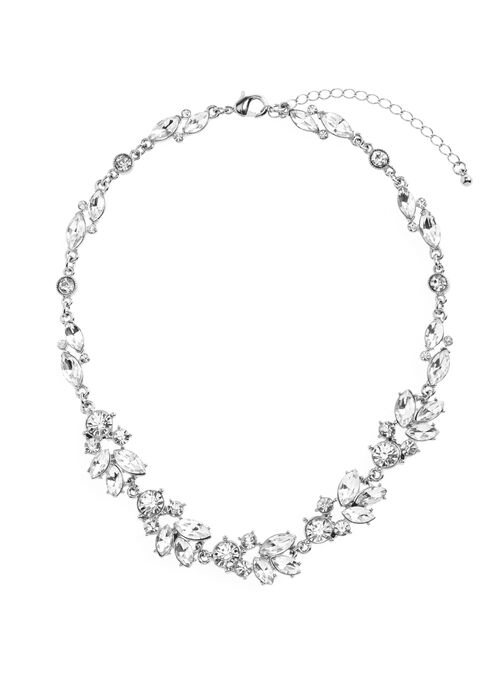 Crystal Leaf Detail Necklace , Silver, hi-res
