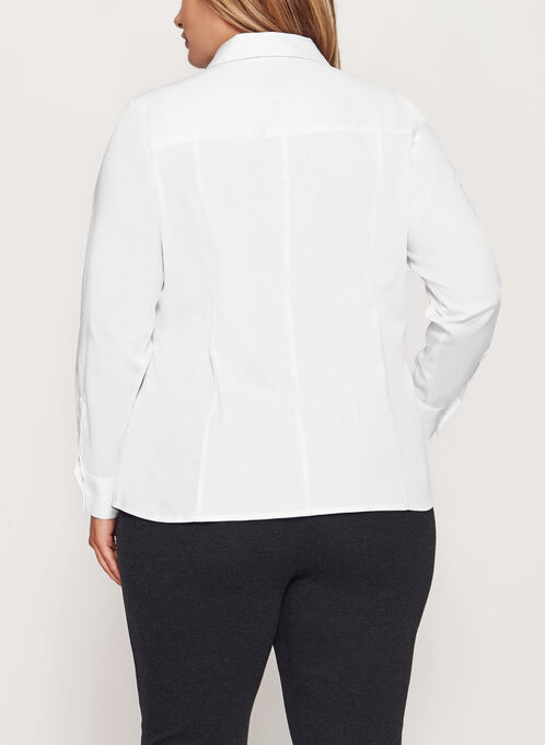Long Sleeve Button Front Blouse , White, hi-res