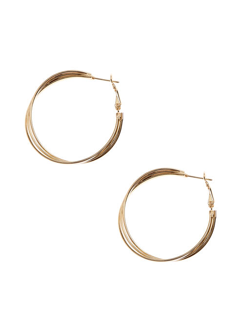 Triple Hoop Earrings, Gold, hi-res