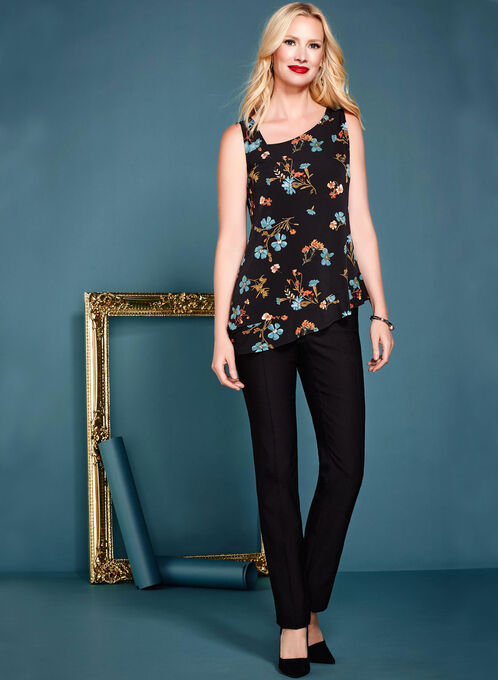 Floral Print Asymmetric Neck Tunic, Black, hi-res