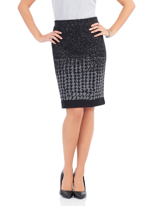 Houndstooth Print Knee-Length Skirt , Black, hi-res