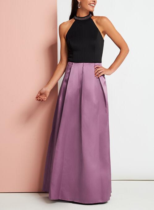 Beaded Cleo Neck Gown, Black, hi-res