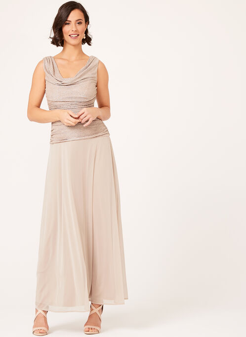 Cowl Neck Glitter Chiffon Gown, Pink, hi-res