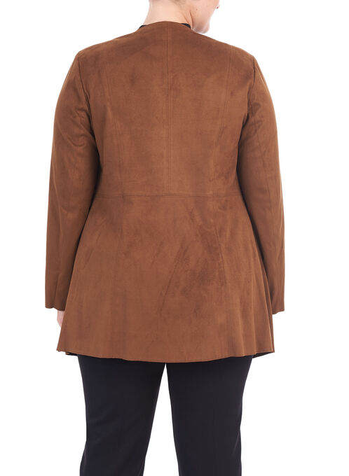 Faux Suede Draped Front Jacket , Brown, hi-res