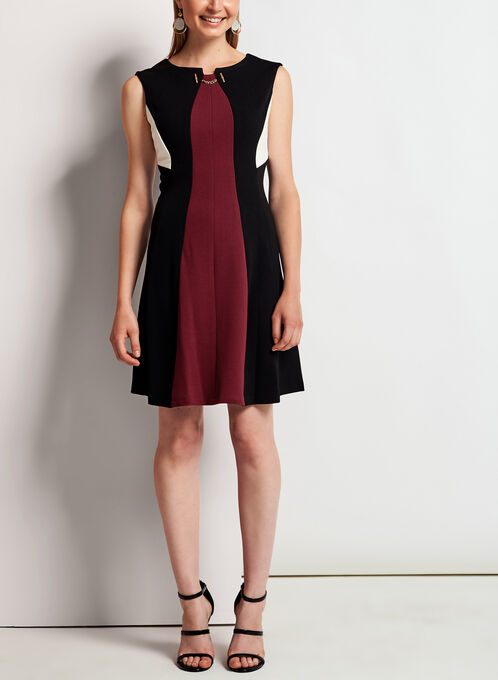 Panelled Fit & Flare Dress, Black, hi-res