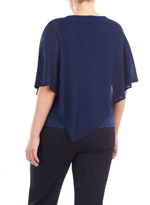 Sleeveless Poncho Style Top, Blue, hi-res