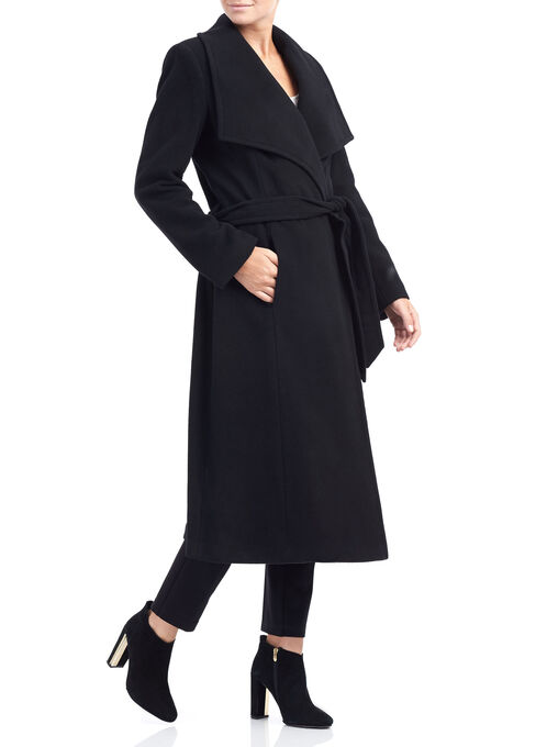 Wool & Cashmere Blend Wrap Coat, Black, hi-res
