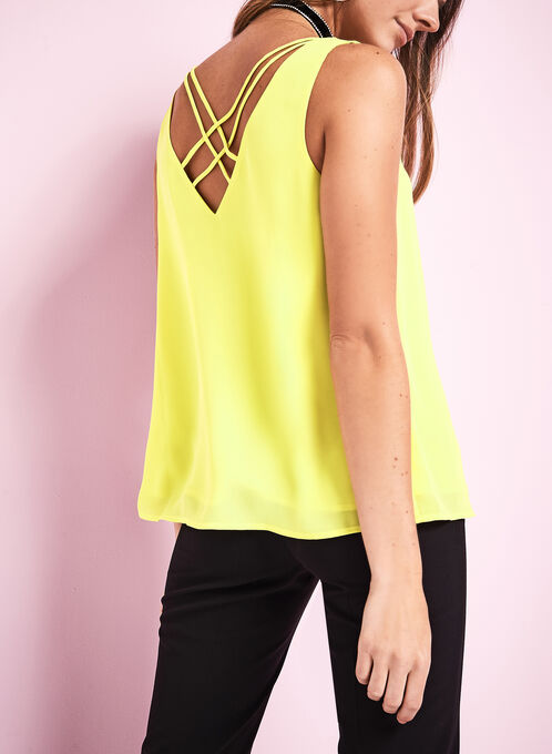 Sleeveless Criss Cross Blouse, Green, hi-res